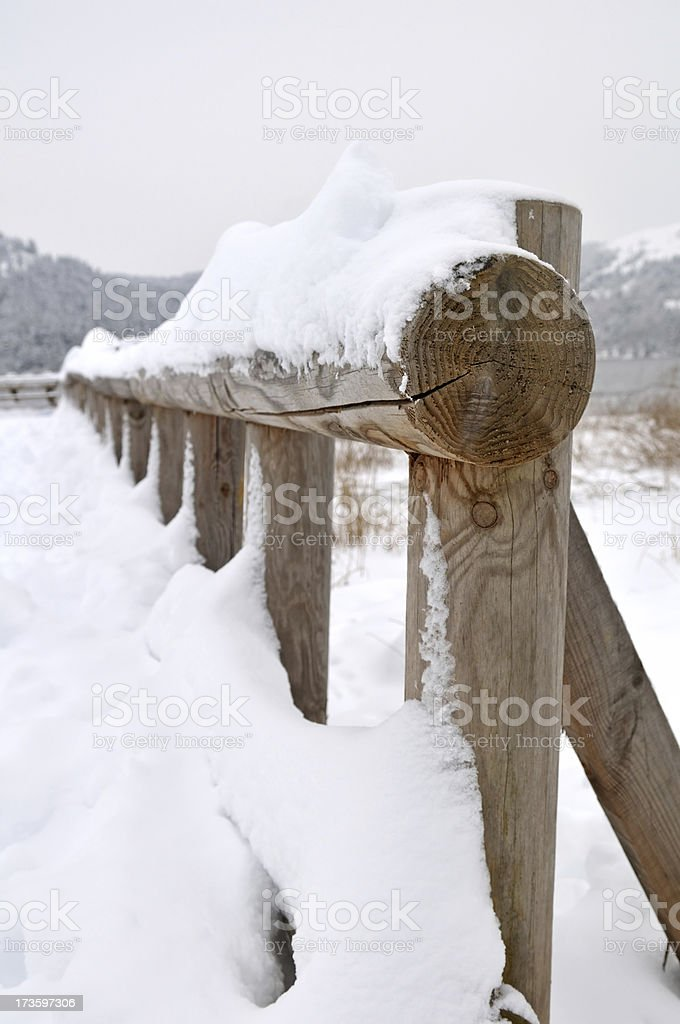 wood guardrail royalty-free stock photo