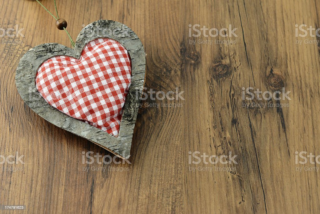 wood Heart on table with copy space royalty-free stock photo