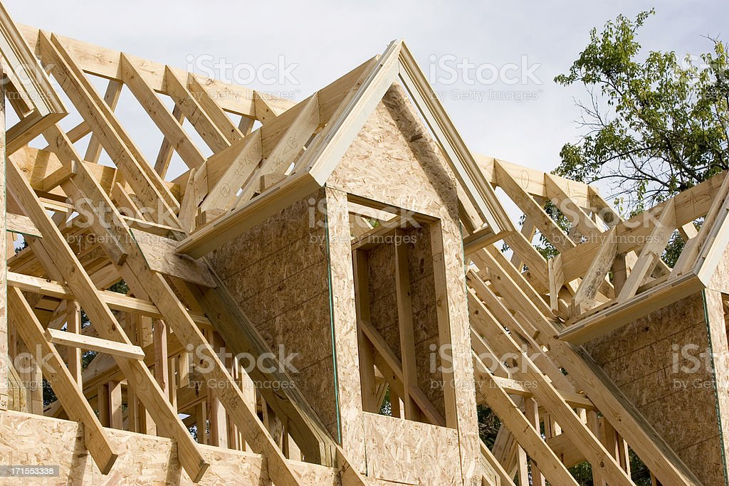 Wood House Framing Dormer Window - Landscape View royalty-free stock photo