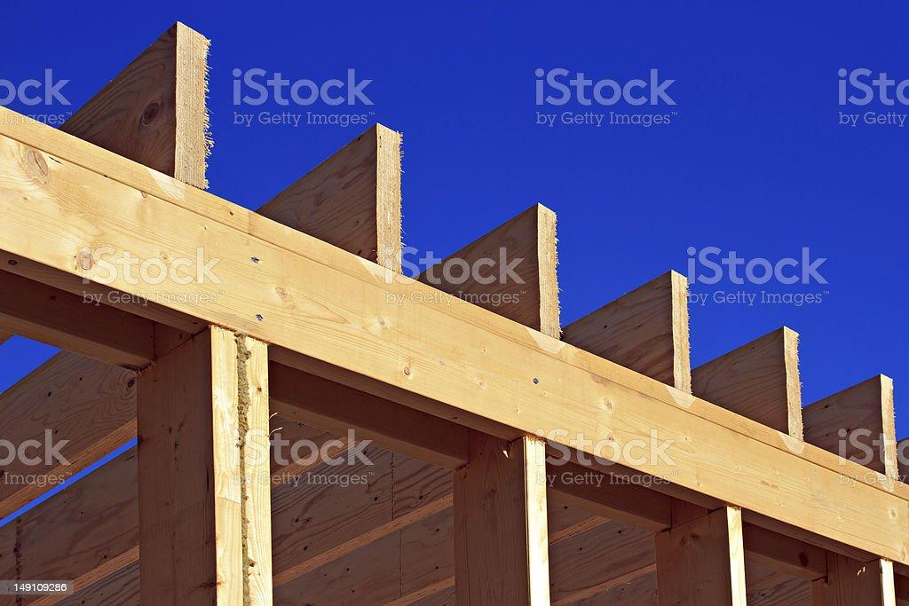 Wood house skeleton closeup royalty-free stock photo