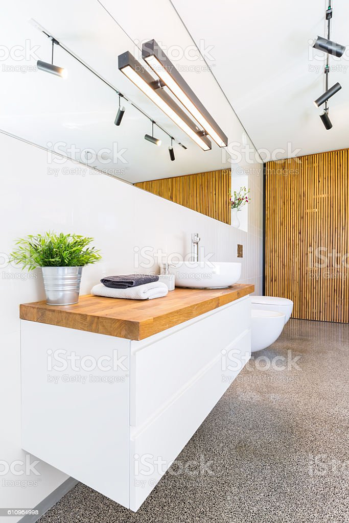 Wood in bathroom stock photo
