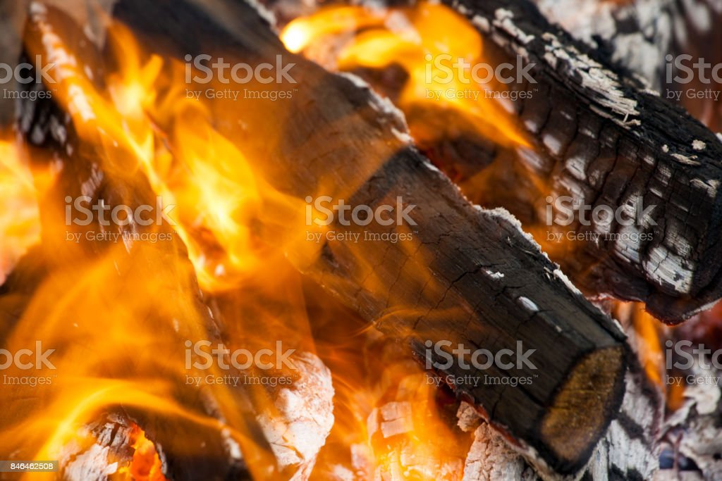 wood in fire stock photo