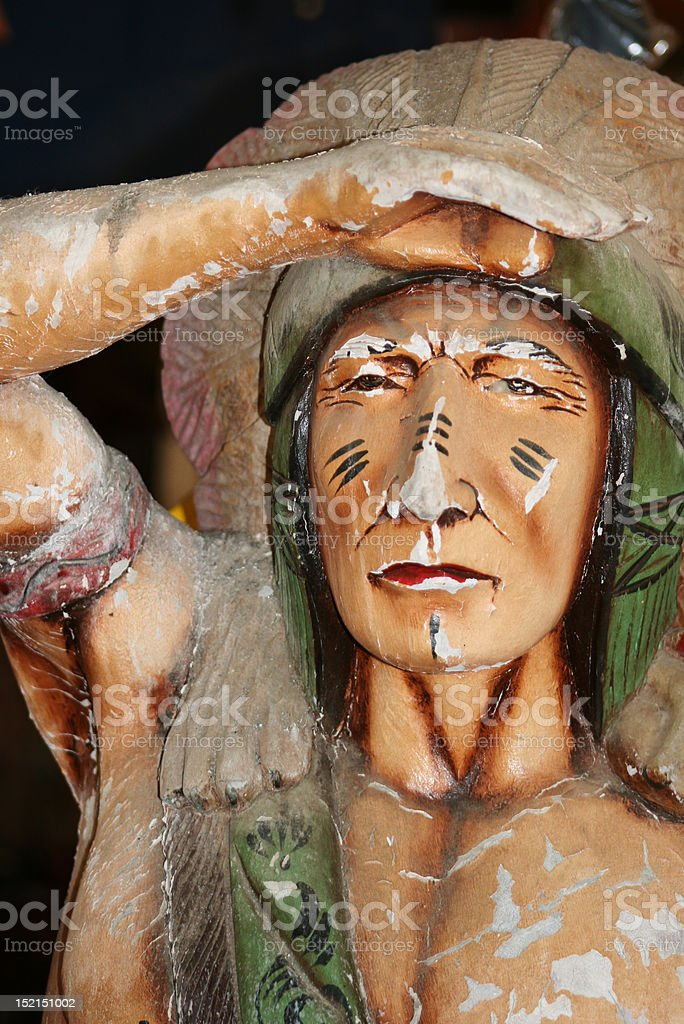 Wood Indian Chief Statue stock photo