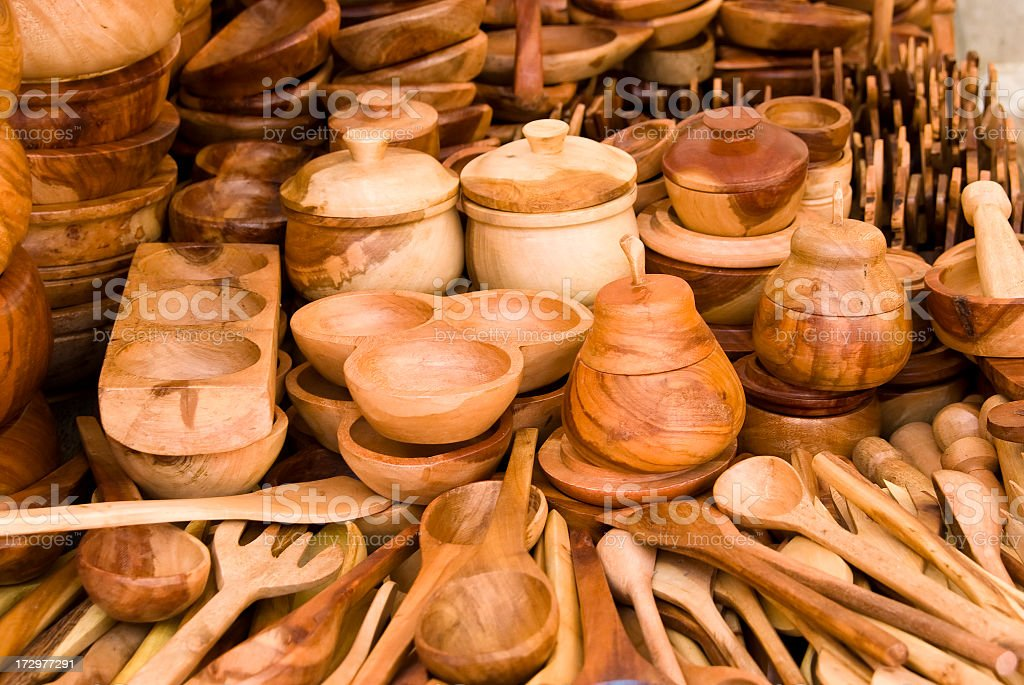 Wood kitchen utensils royalty-free stock photo