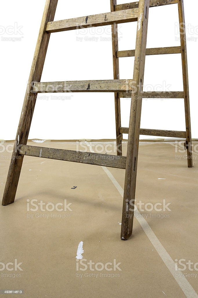 Wood ladder on paperboard stock photo
