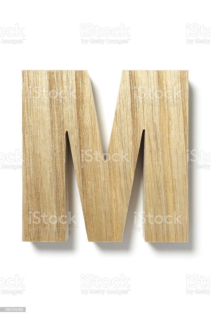 Wood Letter M stock photo
