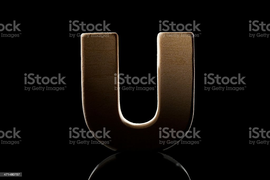 U, wood letter royalty-free stock photo