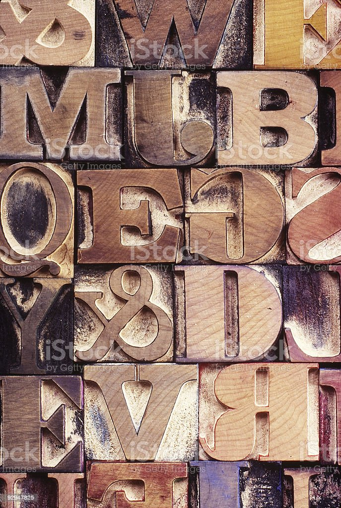 Wood Letter Printing Blocks stock photo