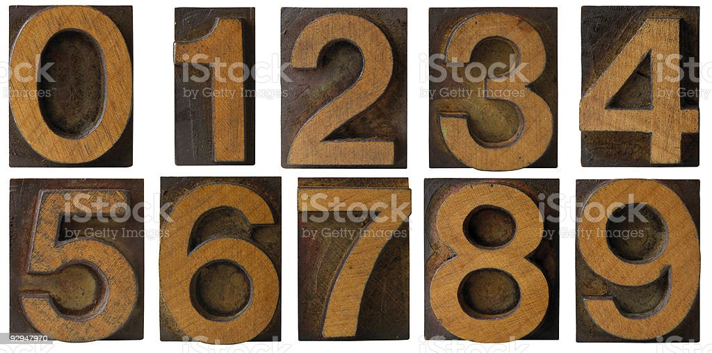 Wood Letterpress Numbers 1 to 9 isolated royalty-free stock photo