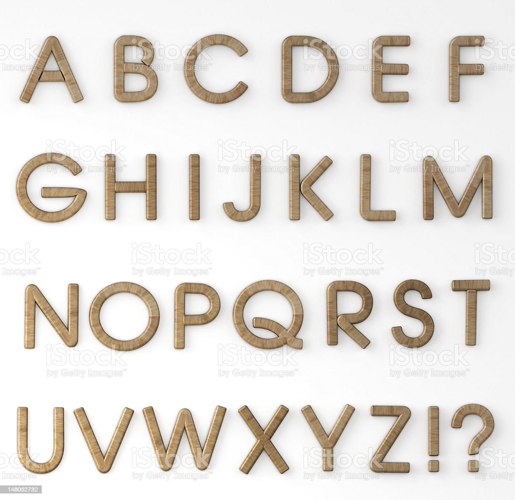 Wood Letters Alphabet stock photo