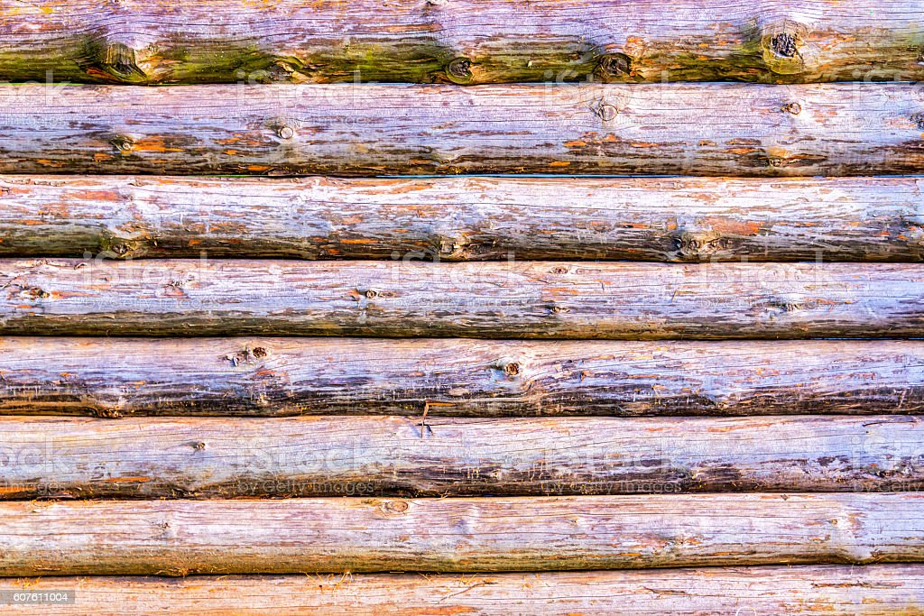 Wood log wall background stock photo