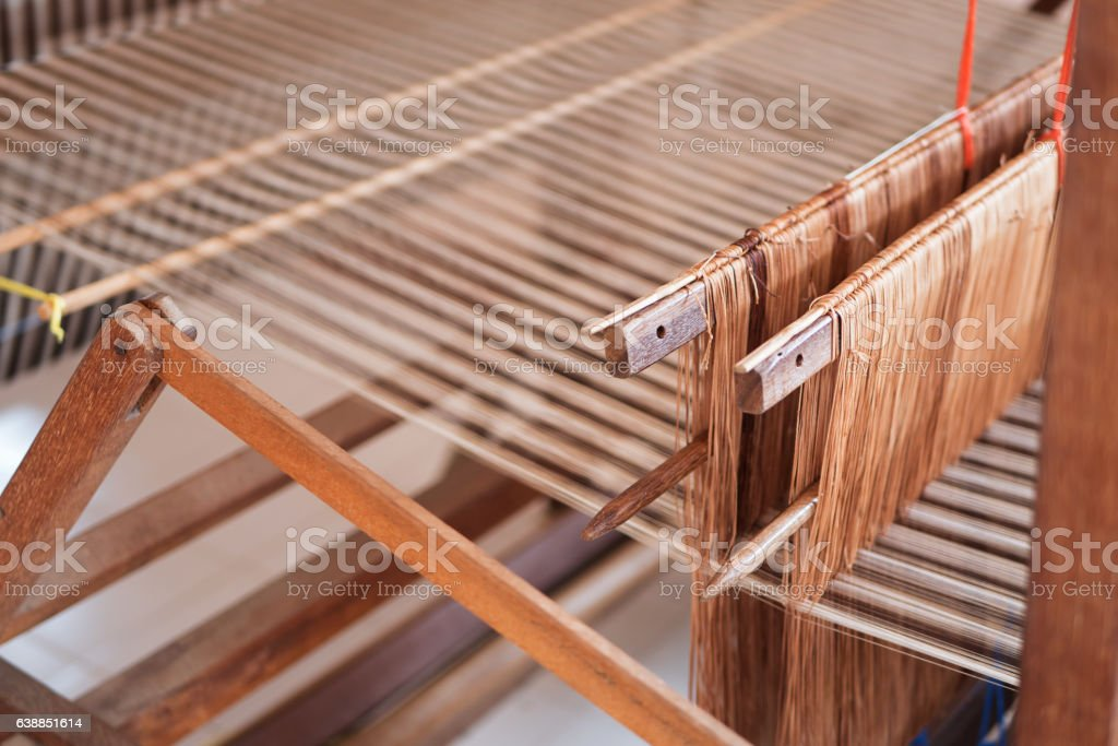wood loom, concept of fabric textile production or hobby stock photo