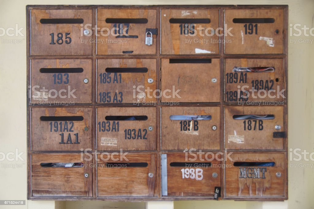 Wood mailboxes stock photo