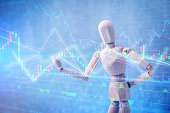wood man figure presenting and showing stock chart