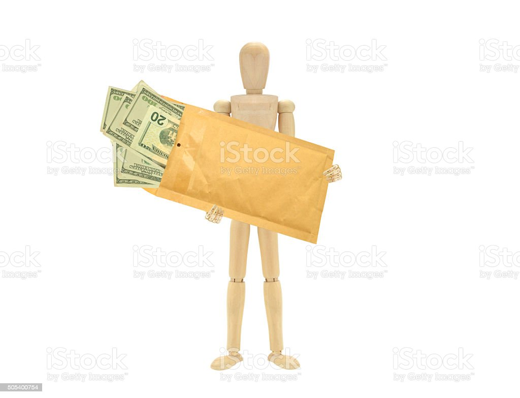Wood Mannequin Envelope Money stock photo
