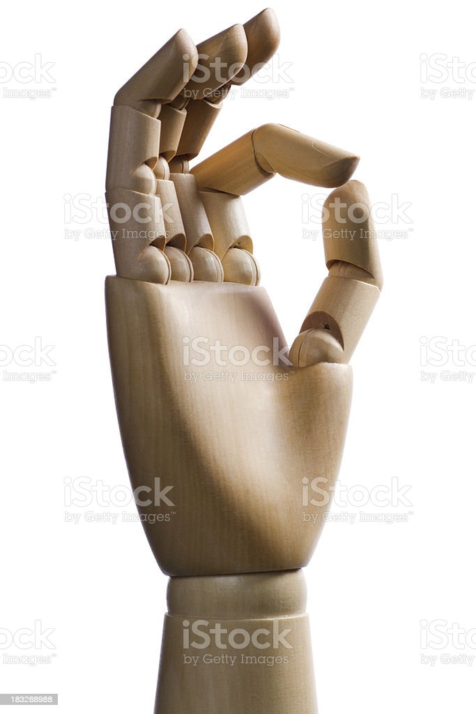 wood mannequin hand OK gesturing royalty-free stock photo