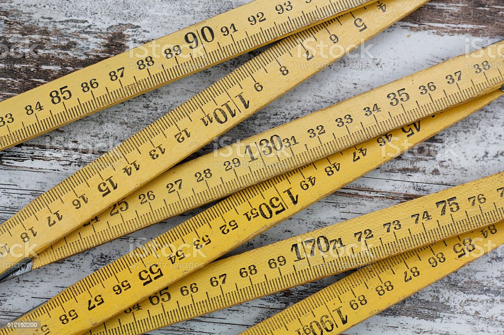 Wood measuring meter stock photo