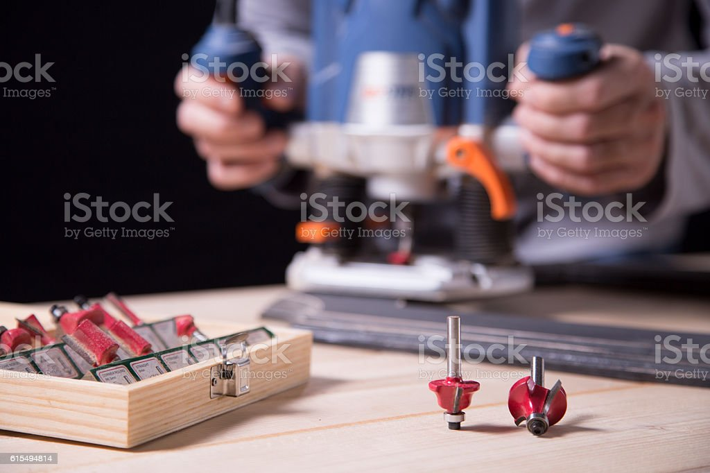 wood milling machine whit cutters stock photo