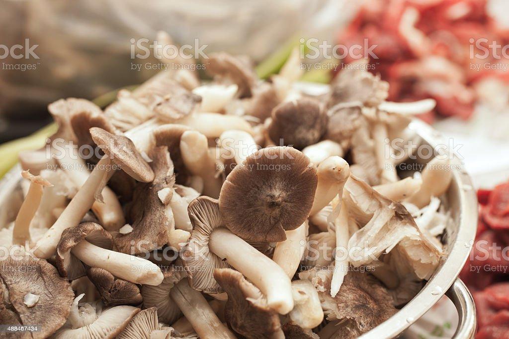 Wood mushrooms in bowl, close up stock photo