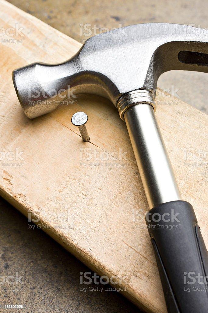 wood, nail and hammer royalty-free stock photo
