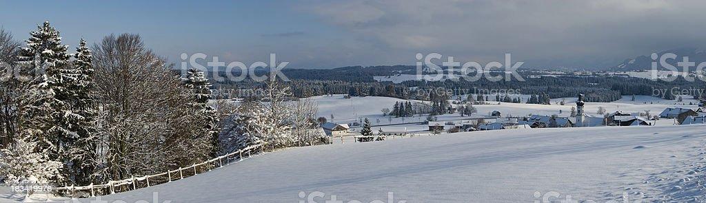 Wood near snow field winter XXL Panorama stock photo