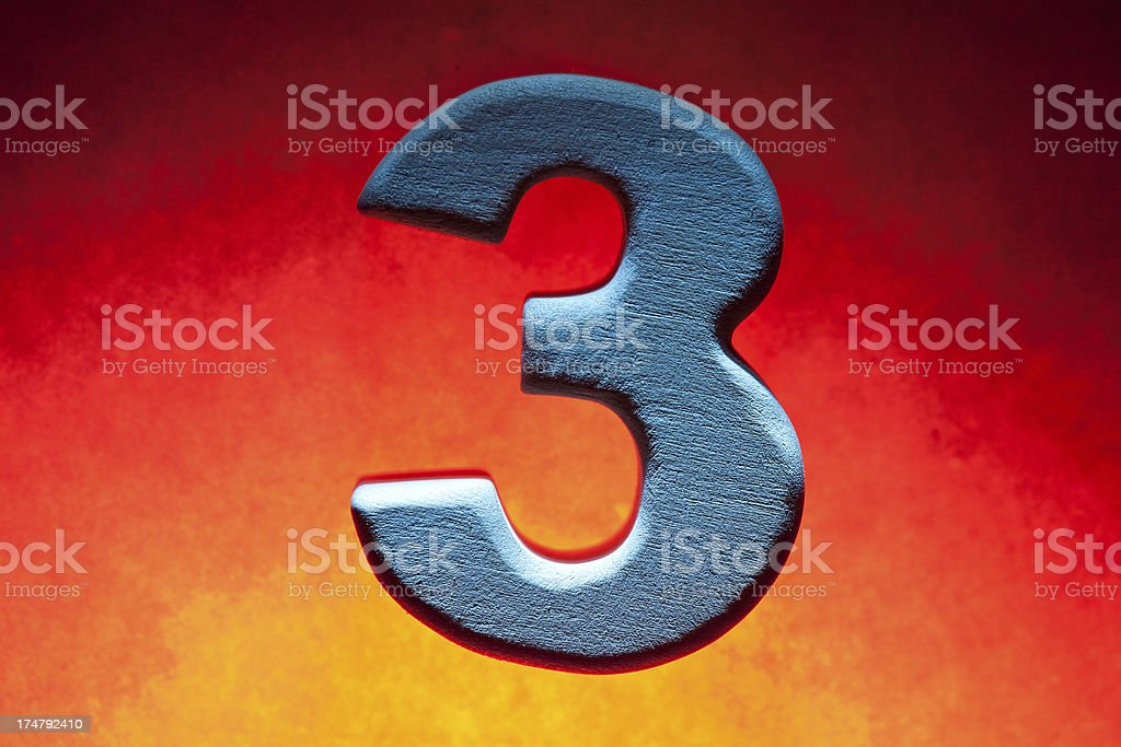 3, wood number royalty-free stock photo