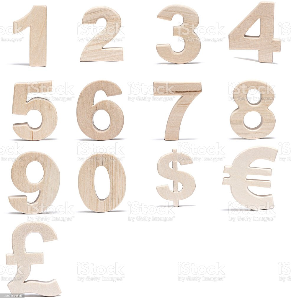 Wood numbers and currencu symbols stock photo