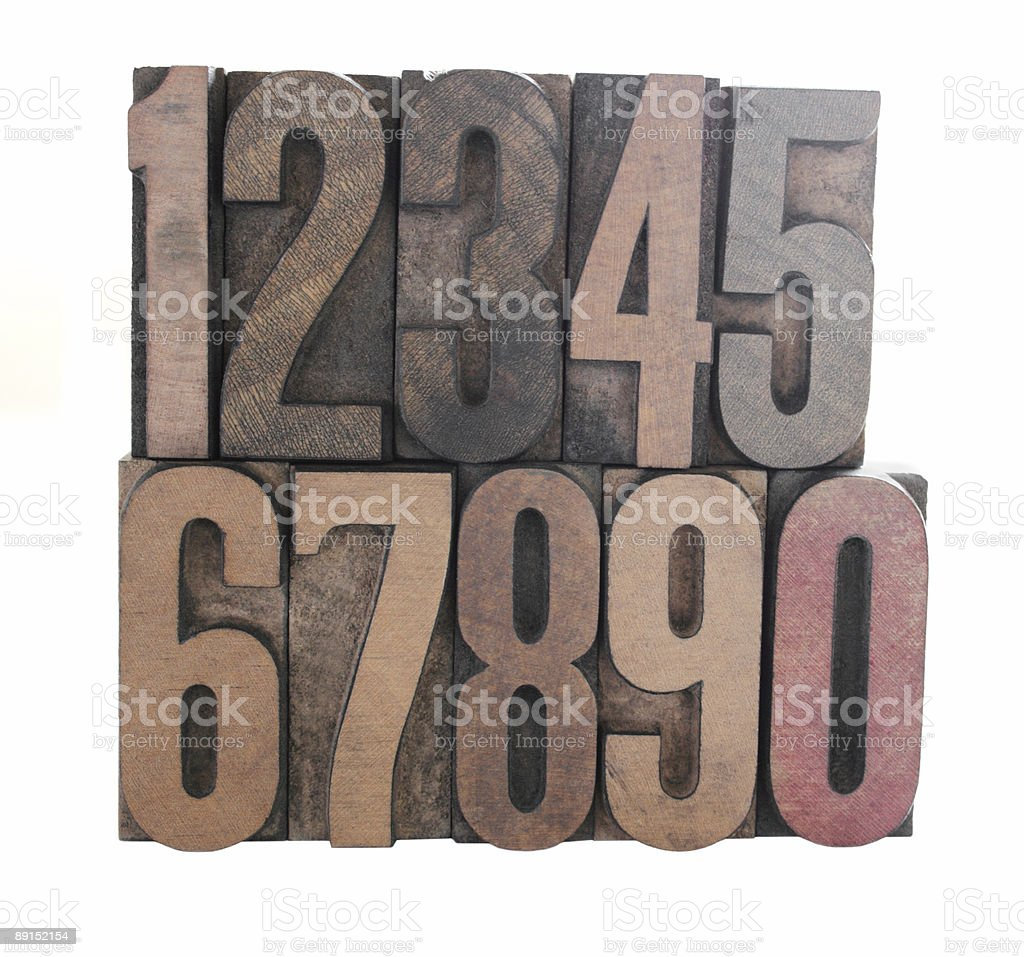 wood numbers royalty-free stock photo