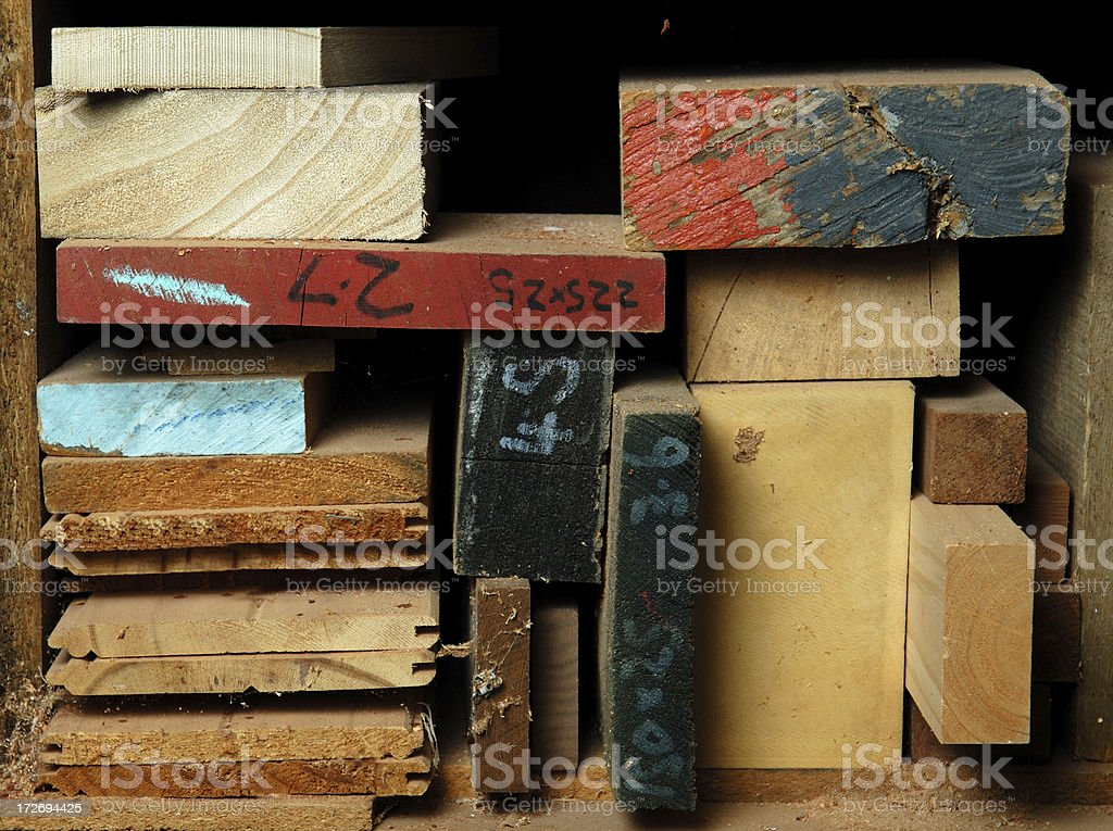 Wood offcuts stored in a workshop stock photo