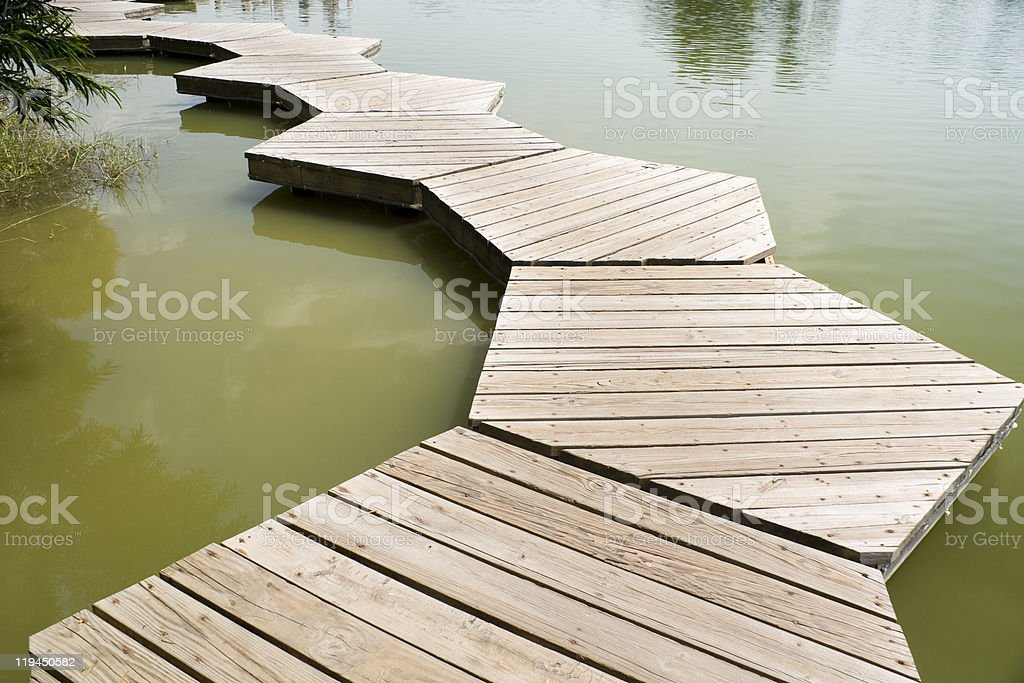 wood pavement in pool stock photo
