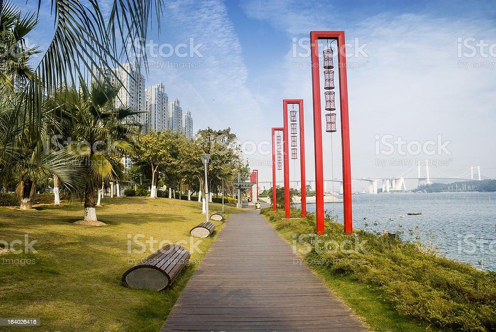 Wood pavement on the seaside at Xiamen stock photo