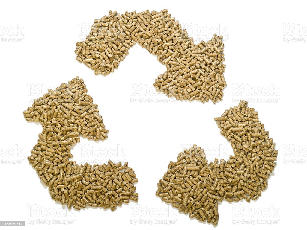 Wood pellet recycle symbol royalty-free stock photo