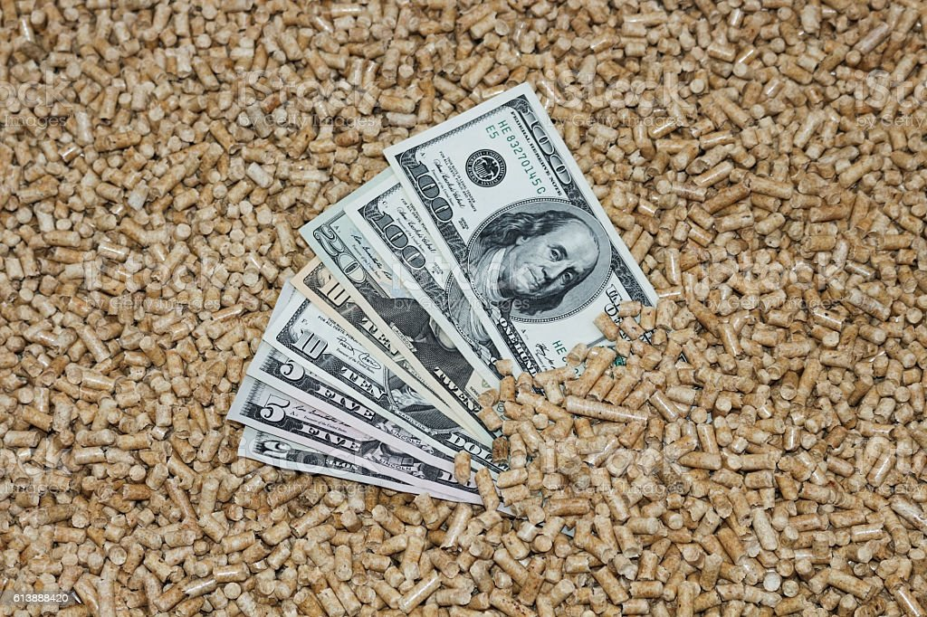 Wood pellets and money, dollars. stock photo