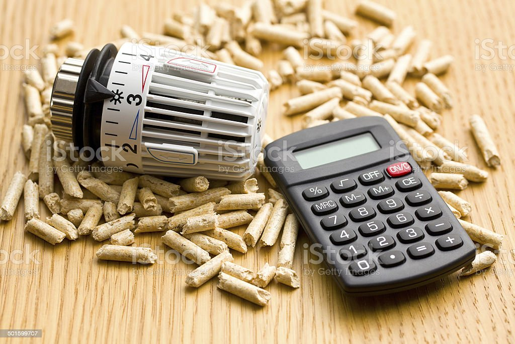 wood pellets as ecological and economical heating stock photo