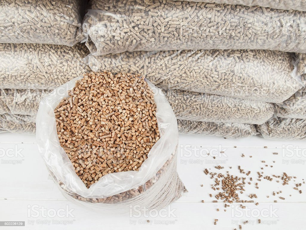 wood pellets in a Sack stock photo