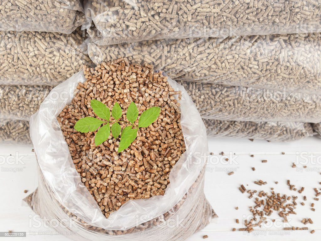 wood pellets in a Sack with tree sapling stock photo