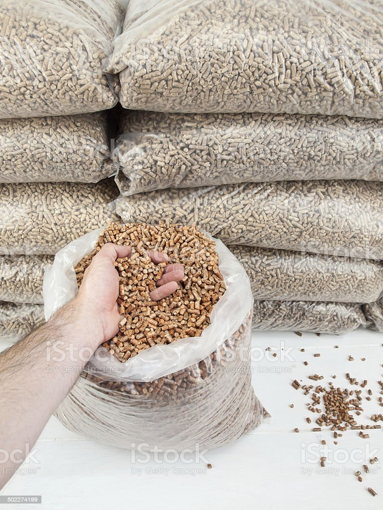 wood pellets in mans hand stock photo