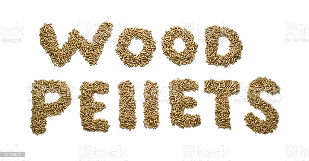 Wood Pellets text royalty-free stock photo
