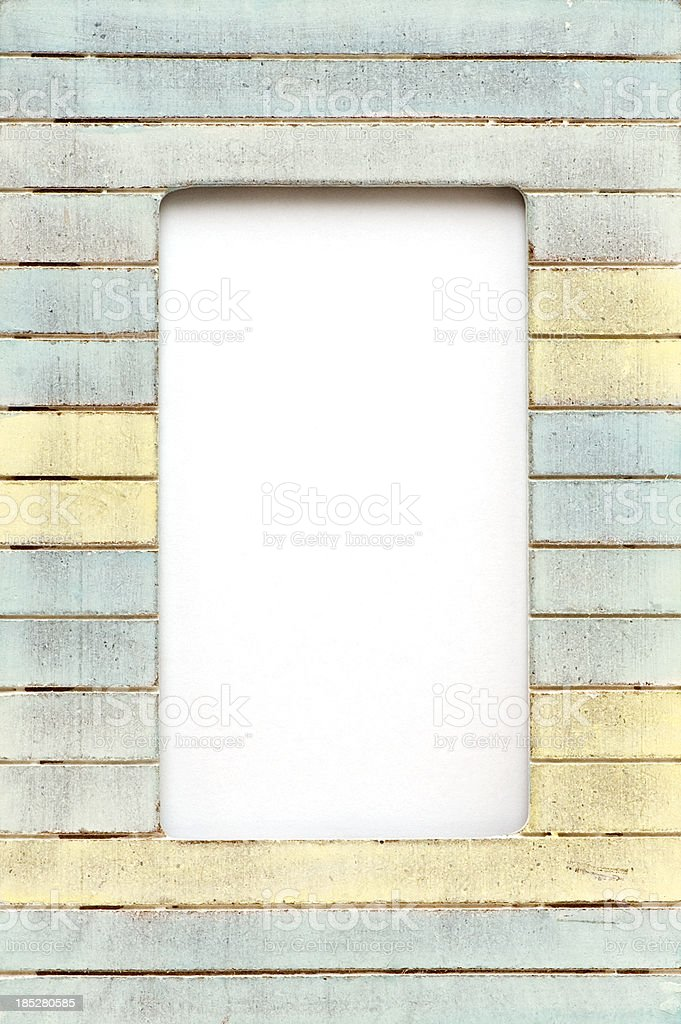 Wood Picture Frame in Pastel Colors. stock photo