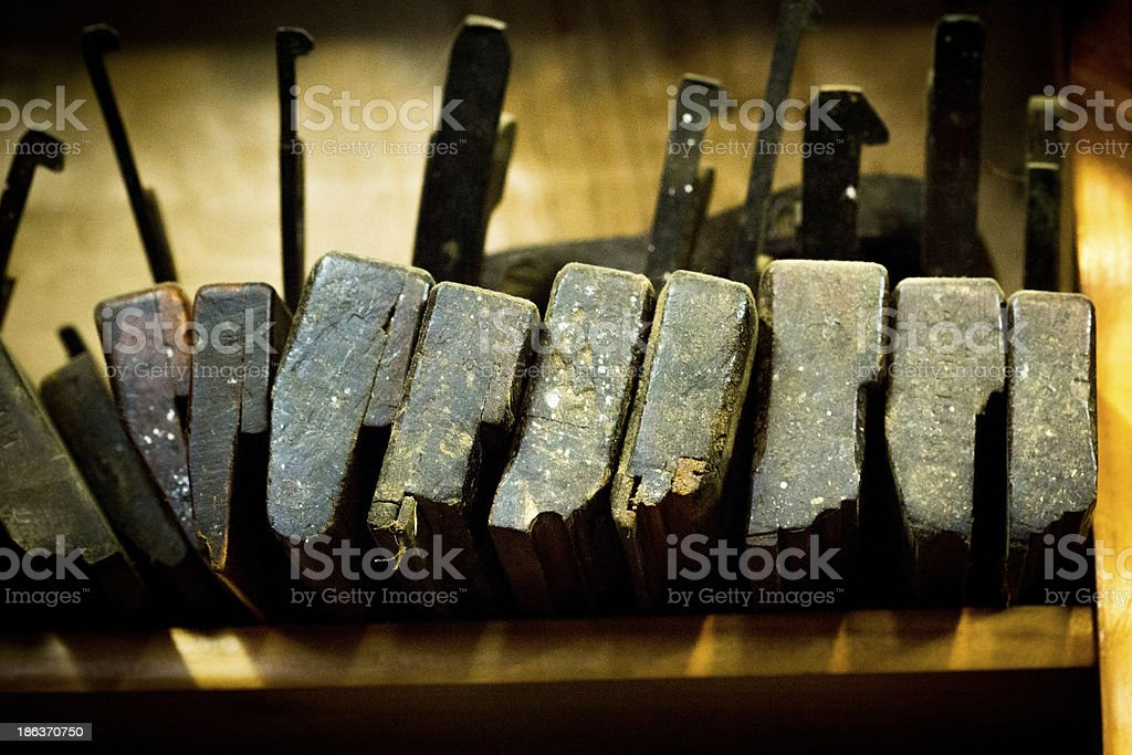 Wood Planes on a Bench stock photo