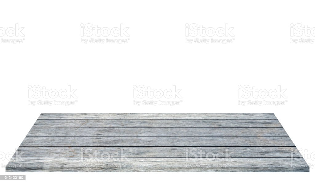 Wood plank gray template on white background stock photo