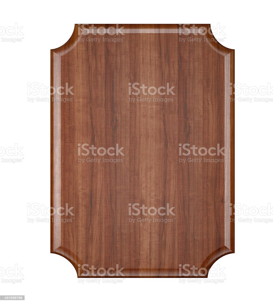 Wood plaque with rounded corners stock photo
