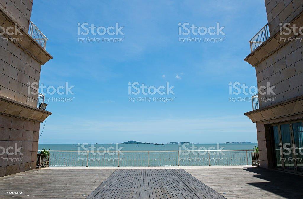 wood platform beside the sea royalty-free stock photo
