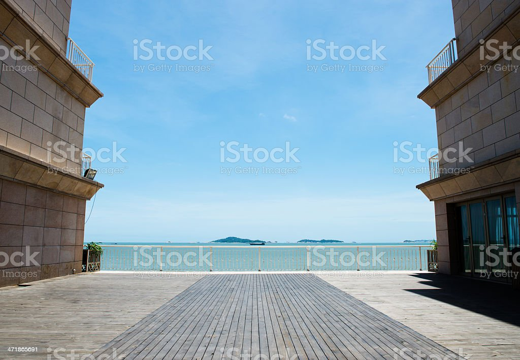wood platform beside the sea royalty-free stock photo