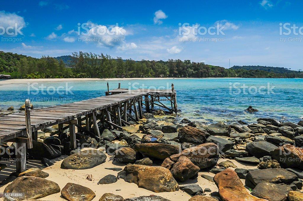 Wood Port on the beach at Kood Island stock photo