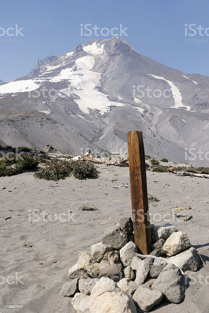 Wood Post On Mt. Hood royalty-free stock photo