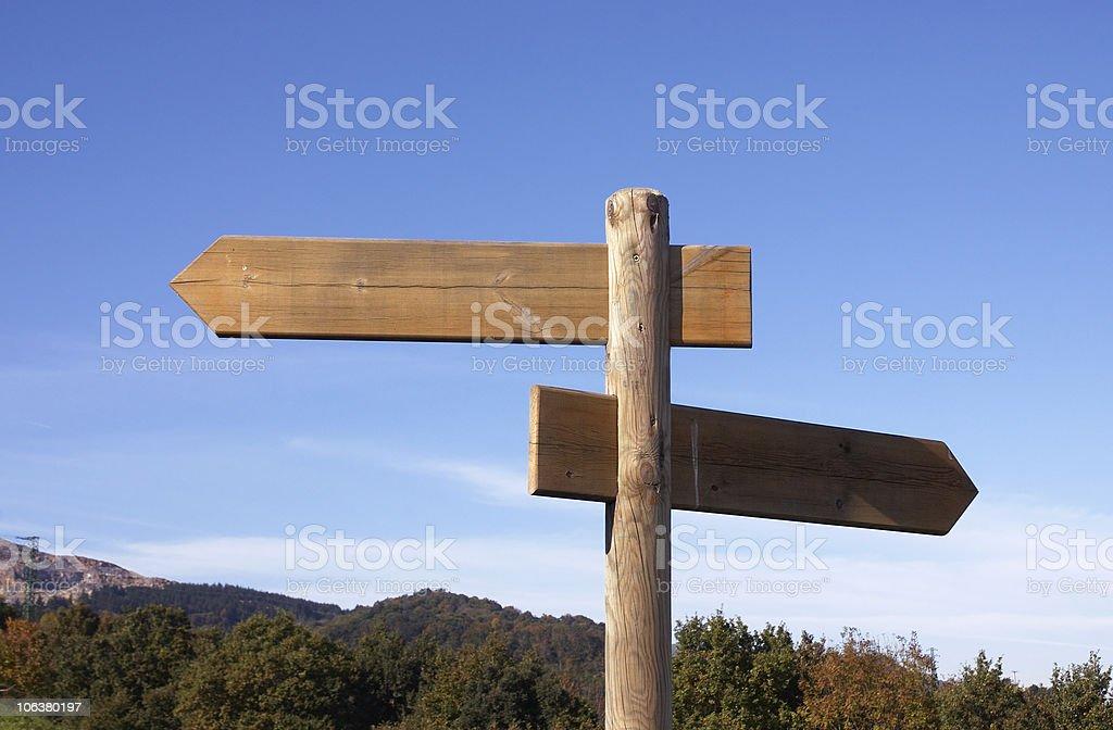 Wood postsign stock photo