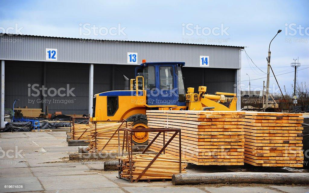Wood processing plant stock photo