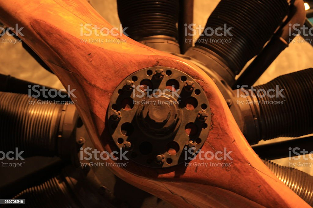 Wood propeller stock photo