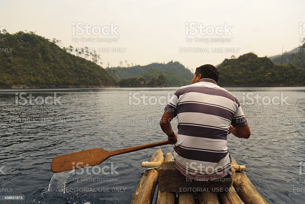 Wood raft in Lagunas de Montebello stock photo